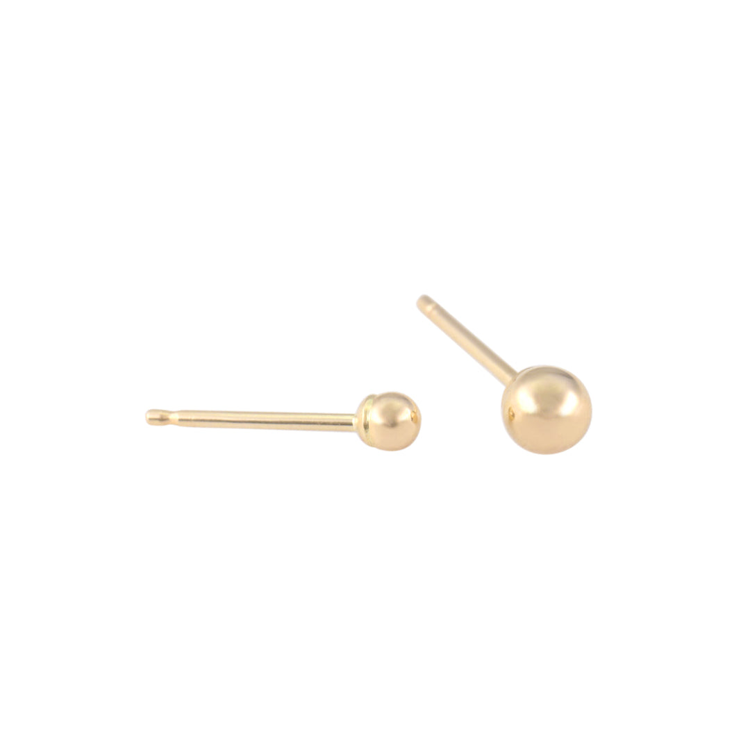 14K Gold Tiny Ball Stud Earrings