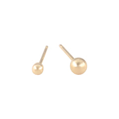 2mm and 3mm ball stud earrings made from 14k gold