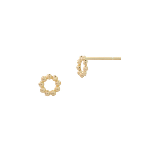 14k gold beaded circle stud earring