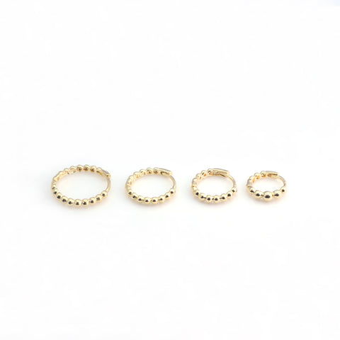 14K Gold Beaded Huggie Hoop Earring