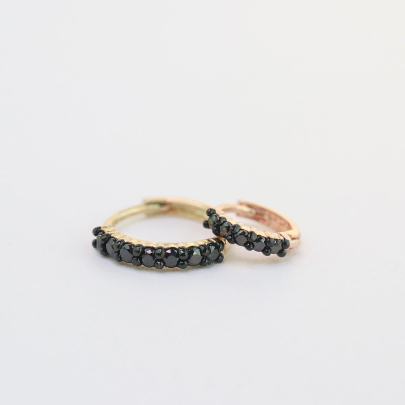 5mm Black Pave Huggie Hoop-14K Gold