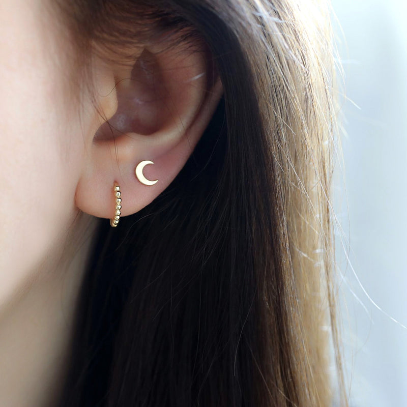 Crescent Moon Stud Earring- 14K Gold