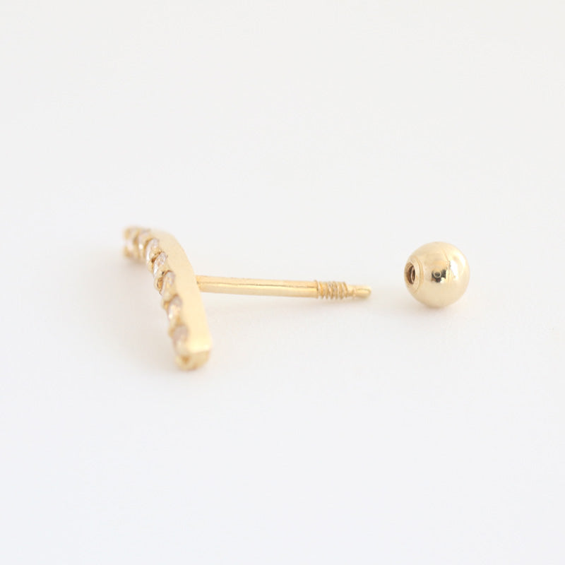 14K Gold Curve Bar Piercing With Screw Ball Back