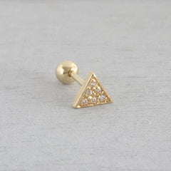 small triangle cartilage stud earrings made from solid 14k gold