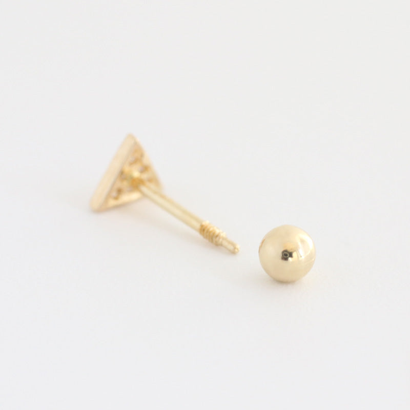 14K Gold CZ Triangle Stud Earring
