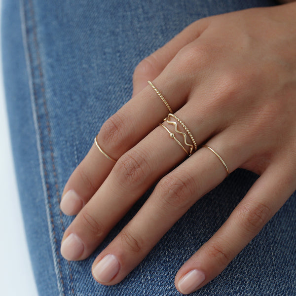 Twist Stacker Ring- 14K Gold
