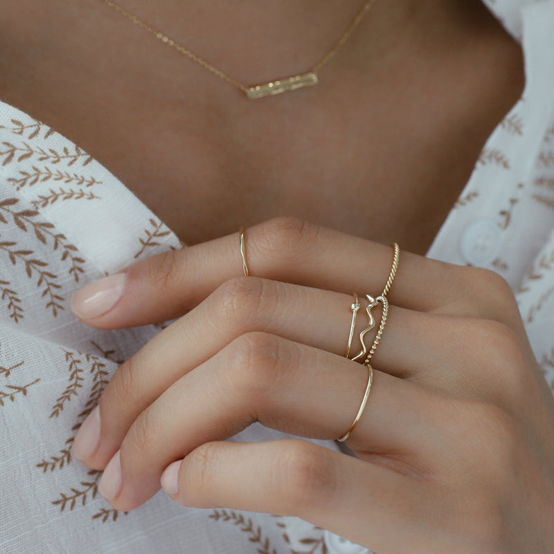 Skinny Faceted Ring- 14K Gold