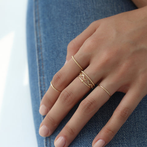 Slim Dotted Ring- 14K Gold