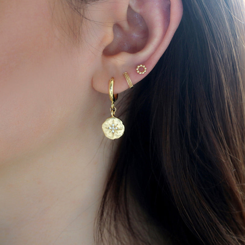 Beaded Circle Stud- 14K Gold