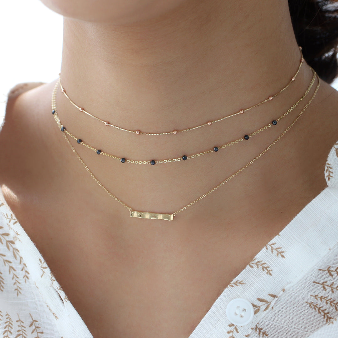 Black Spinel Chain Choker- 14K Gold