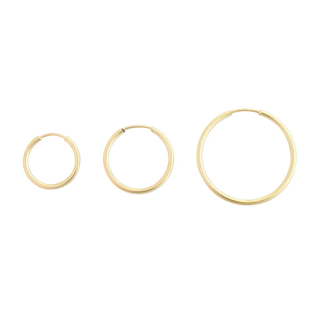 14k gold seamless hollow hoop earrings