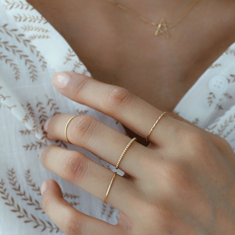 Thin Textured Ring- 14K Gold