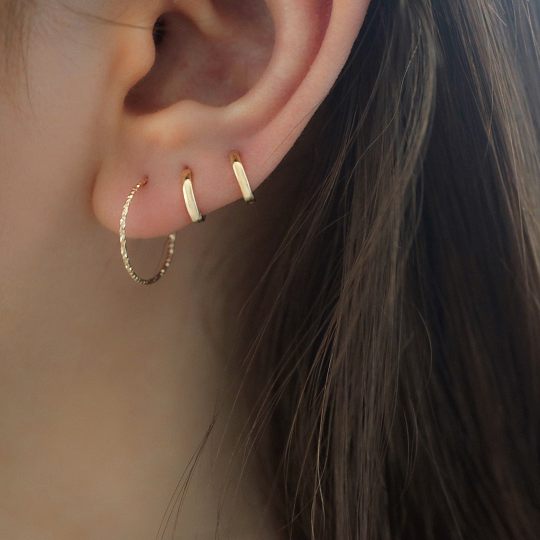 small and thin faceted endless hoop earring