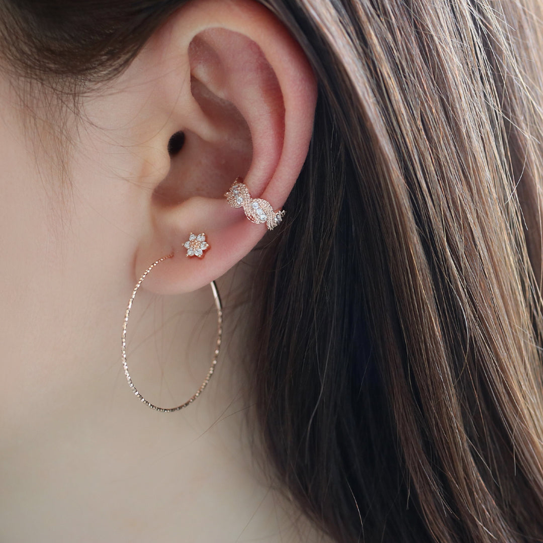 Thin and large endless hoop earring made in 14k gold