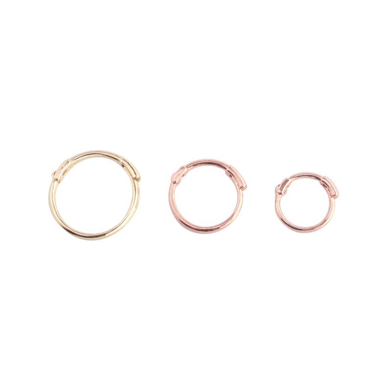 14k gold thin small huggie hoop earrings in 6mm, 7mm, 8mm and 10mm