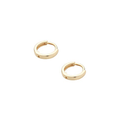 tiny hugging hoop earrings made in 14k gold