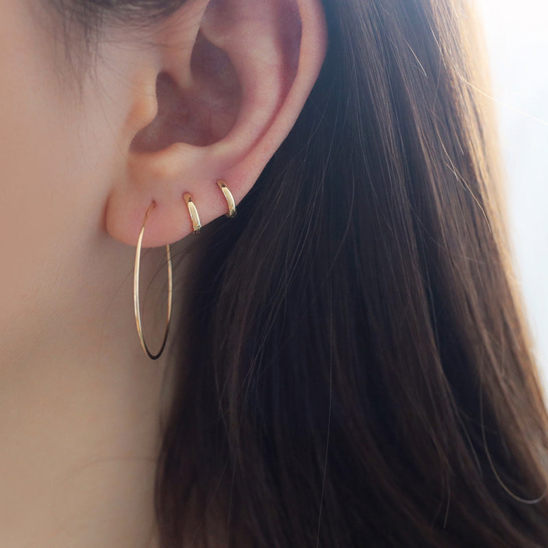 14k gold huggie hoops in 6mm inner diameter