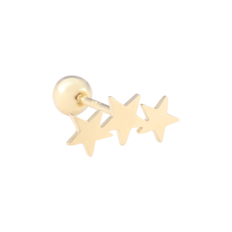 14K Gold Triple Star Cartilage Ear Piercing