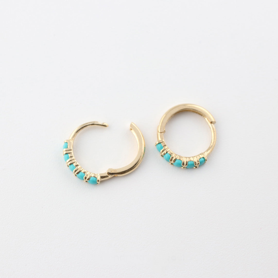 14K Gold Opal & Turquoise Hoop