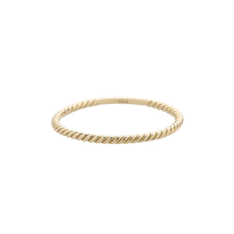 twist staking ring made from solid 14k gold