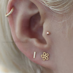 14k gold ball labret piercing earring