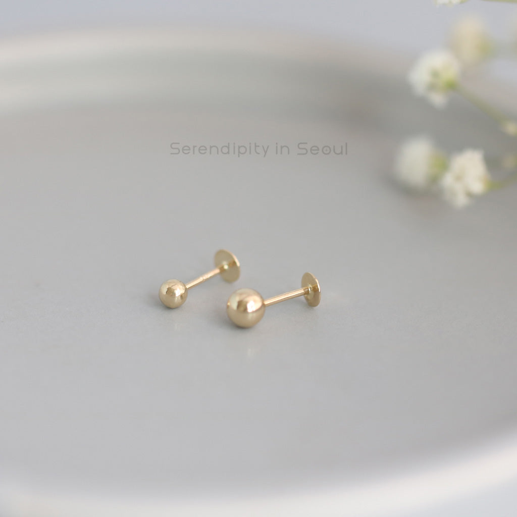 14k gold ball labret piercing stud in 20g