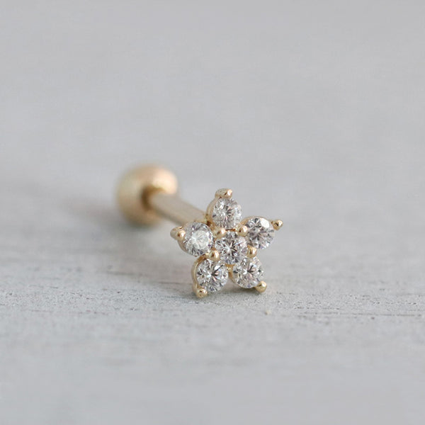 16g Flower Cartilage Piercing- 10K Gold