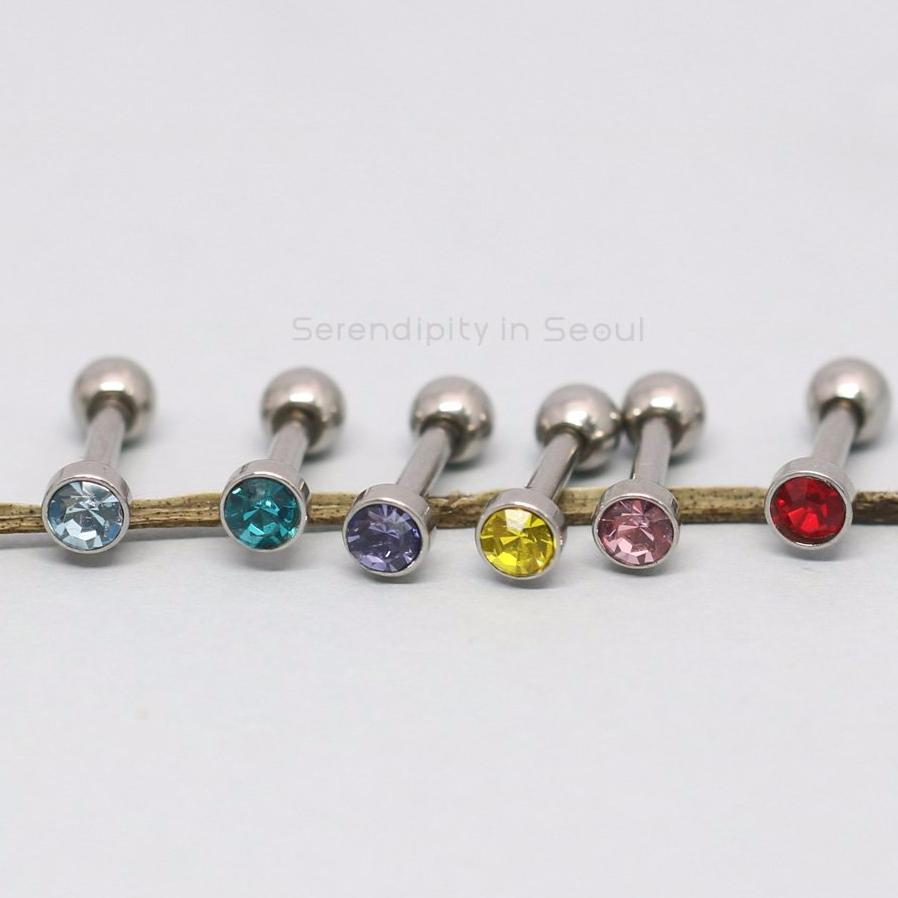 316L piercing barbells in red, green, aqua, yellow and purple