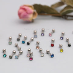 tiny cartilage piercing barbells with CZ
