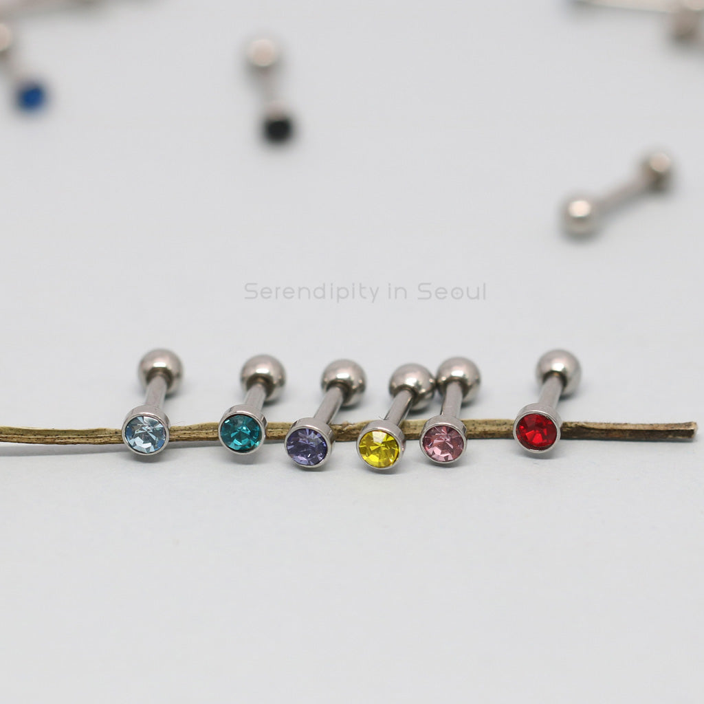 tiny barbell ear piercing with CZ gems