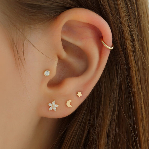 3mm tiny star stud piercing earring in 14k gold