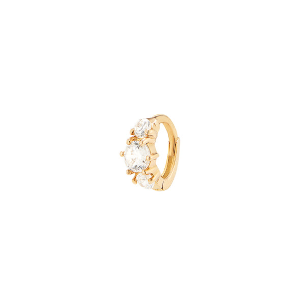 Tiny Triple Gem Huggie- 14K Gold