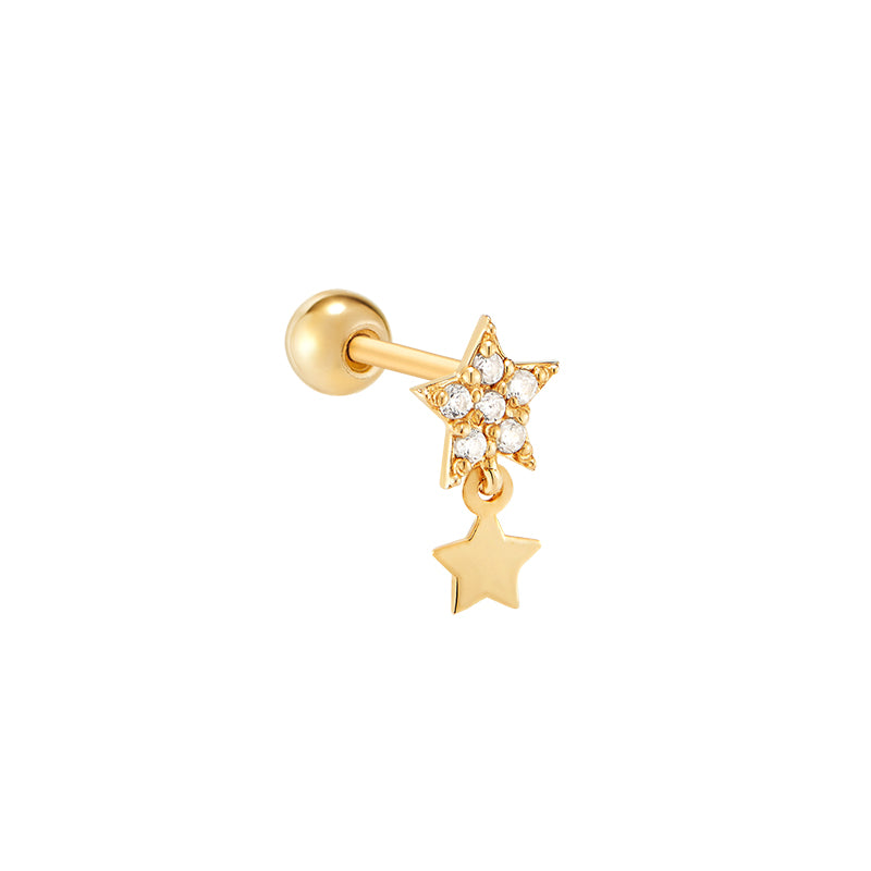 Star Dangle Stud Ear Piercing- 14K Gold