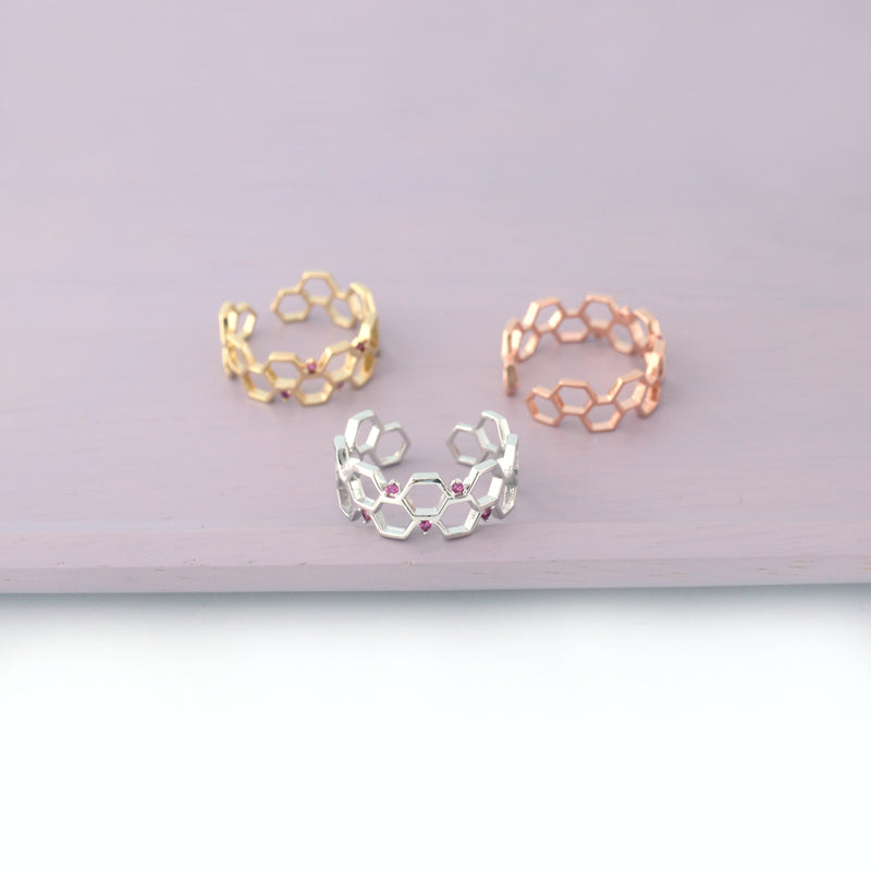 honeycomb rings in silver gold and rose gold