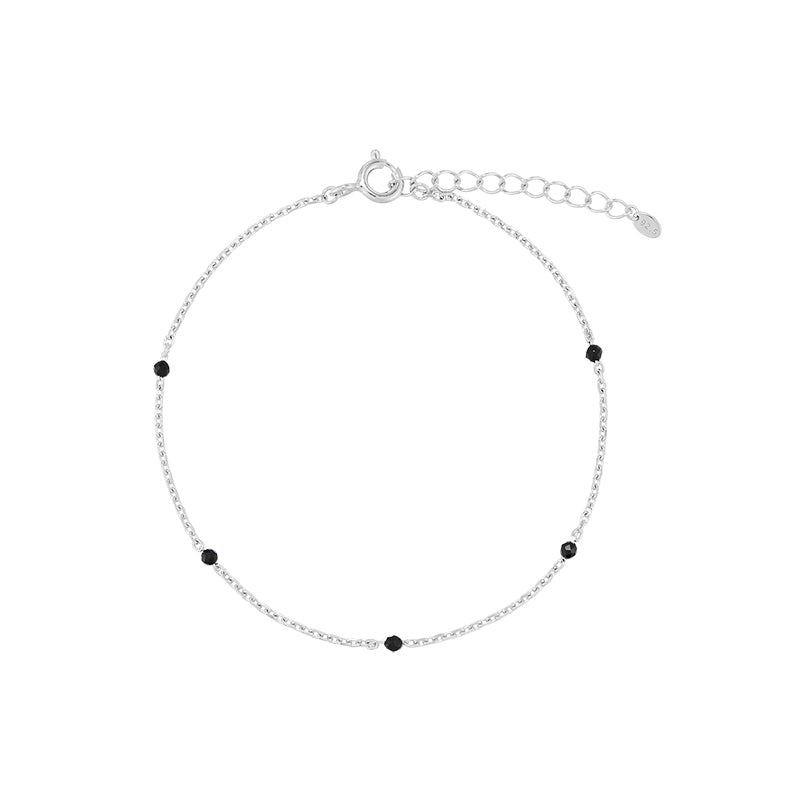 Black Spinel Chain Bracelet- Sterling Silver