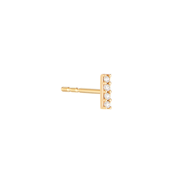 CZ Bar Stud Earring- 14K Gold