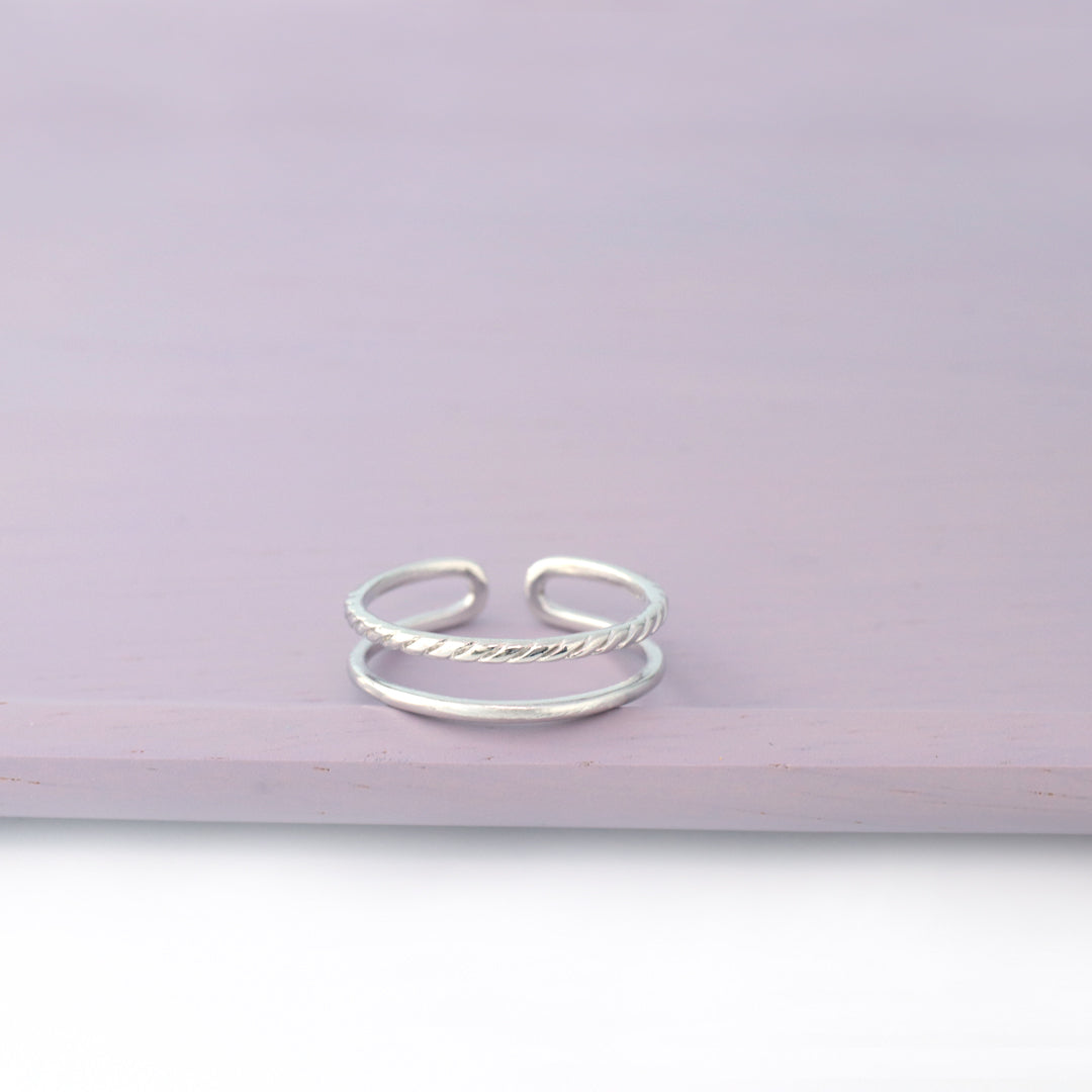 925 Sterling Silver Cord Double Line Ring