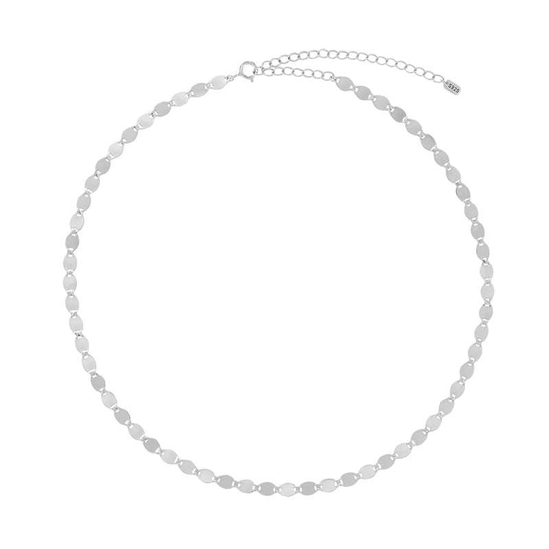 Flat Highlight Chain Choker- Sterling Silver
