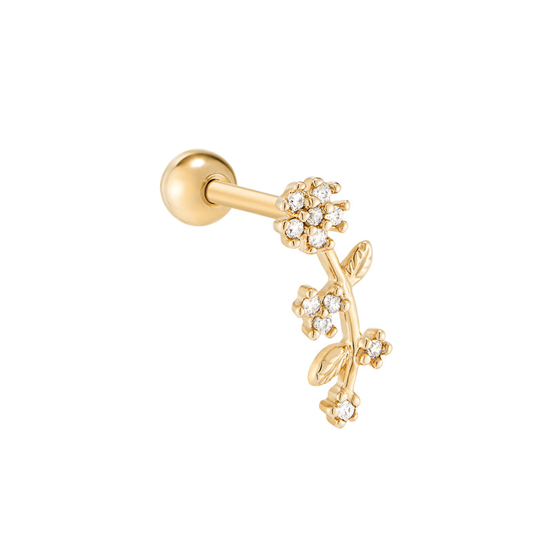 Flower Branch Cartilage Piercing- Sterling Silver