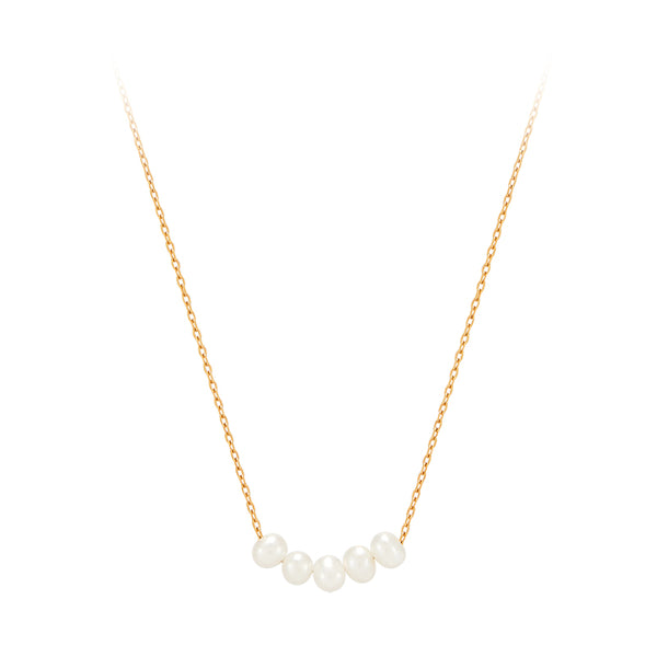 Freshwater Pearl Line Necklace- Sterling Silver
