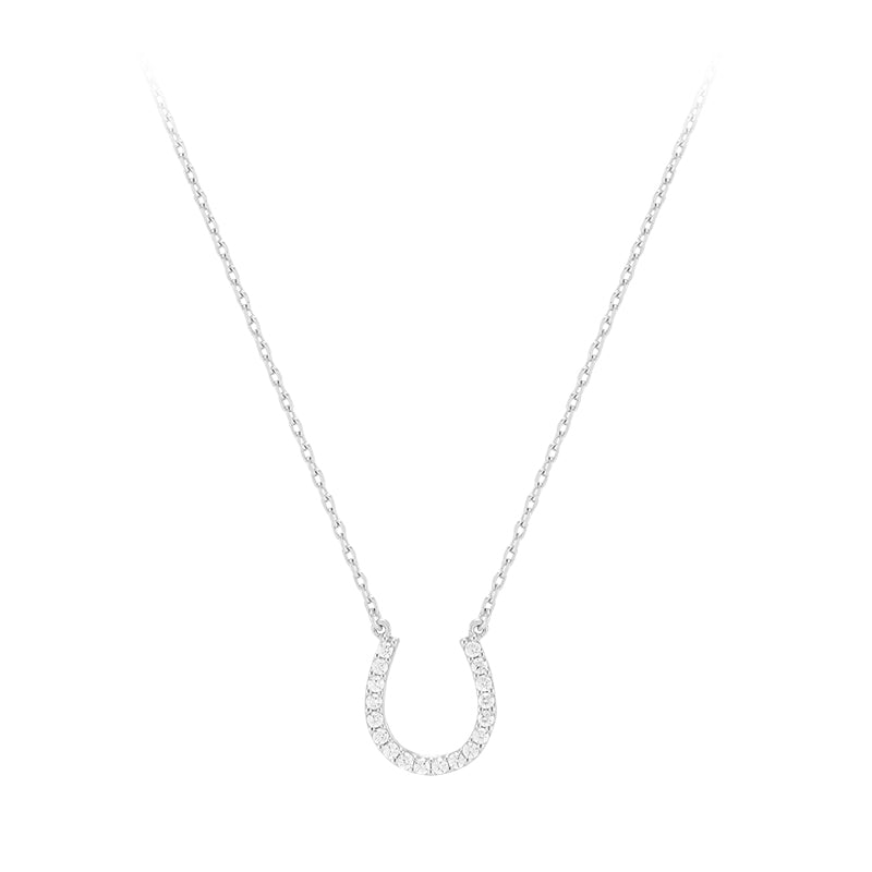 Horseshoe Pendant Necklace- Sterling Silver