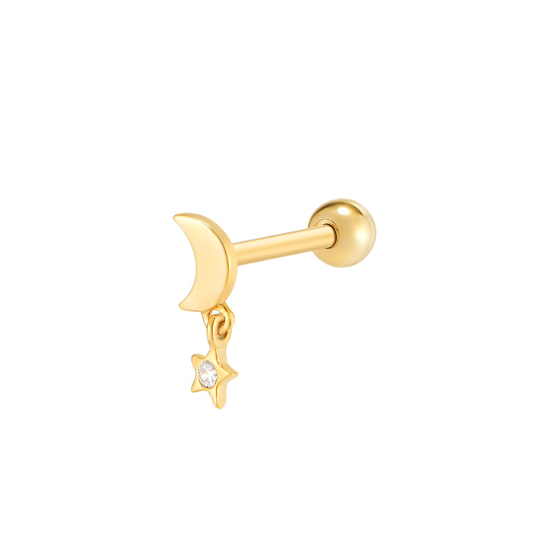 Mini Moon Star Cartilage Piercing- 14K Gold