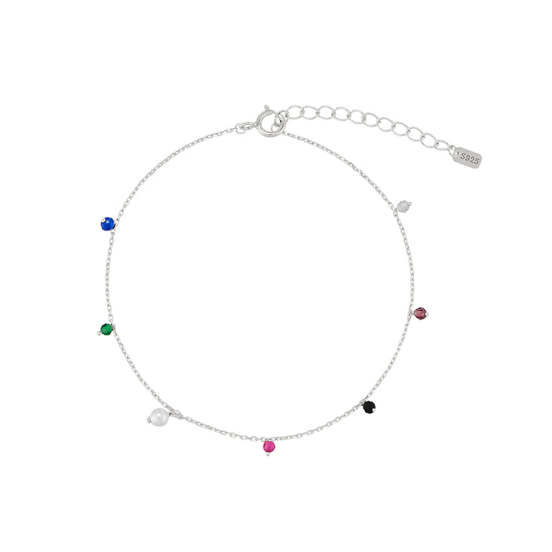 Mixed Gemstone Drip Bracelet- Sterling Silver