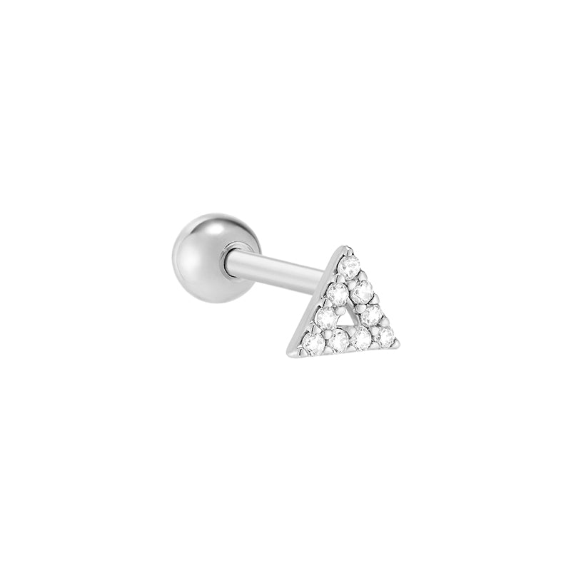 Pave Line Triangle Cartilage Piercing- Sterling Silver