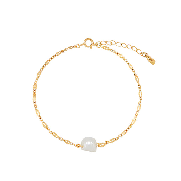 Single Baroque Pearl Bracelet- Sterling Silver