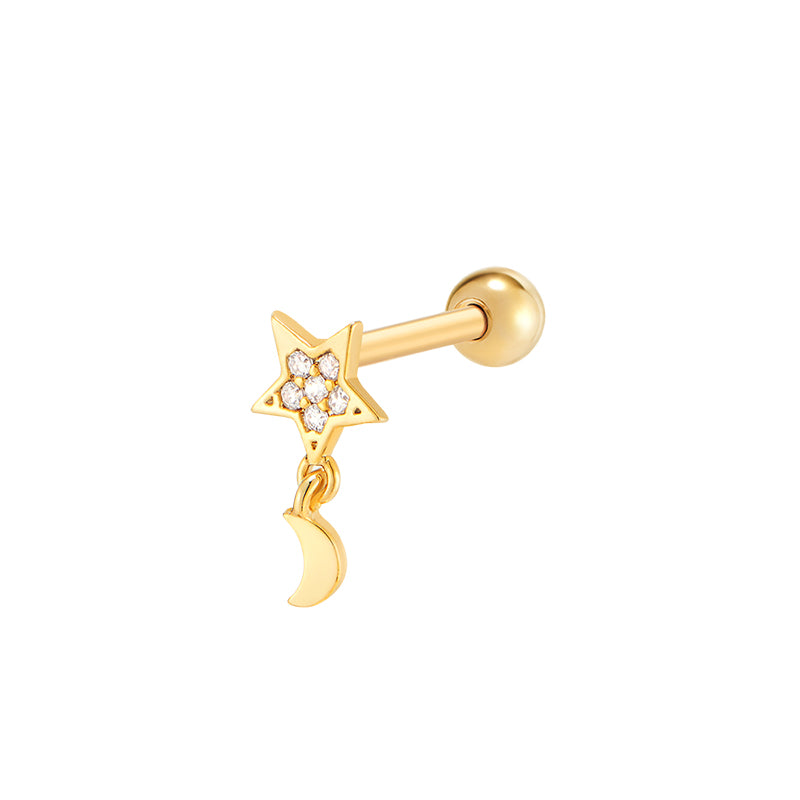 Star Moon Cartilage Piercing- Sterling Silver