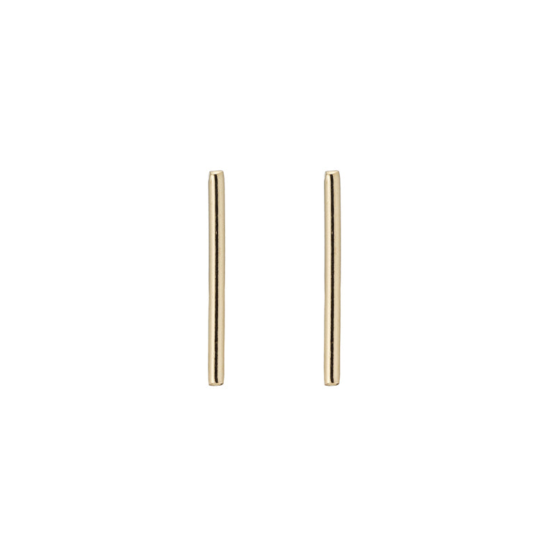 14k gold thin round bar stud