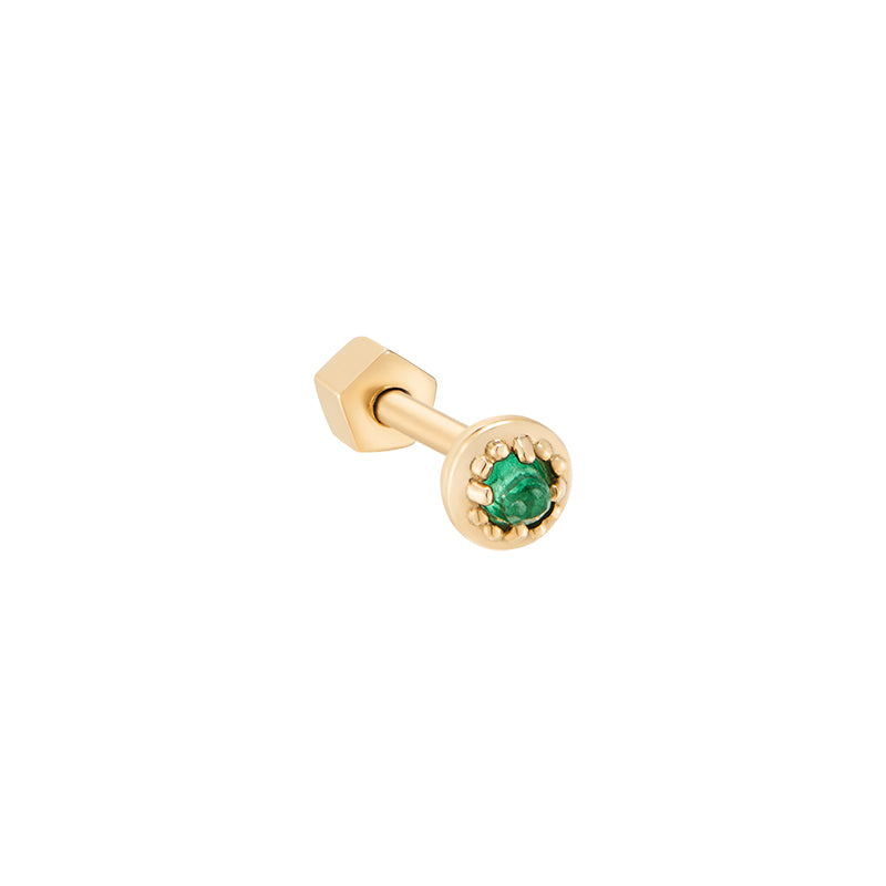Tiny Ball Gemstone Cartilage Earring- 14K Gold