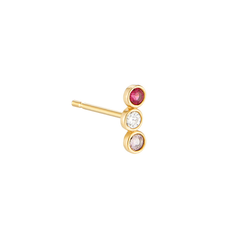 Triple Bezel Stud- 10K Gold