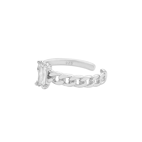 925 sterling silver baguette chain ring
